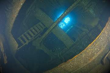 Inside the engine room of a large shipwreck