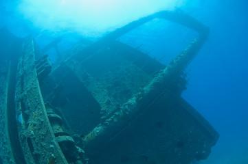 Bridge section of a large shipwreck