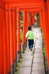 Child run between the Toriis