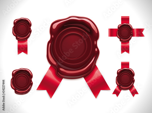 Vector wax seal with ribbons