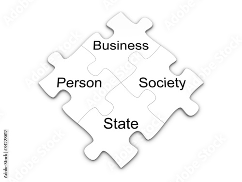 Business puzzle concept. Isolated on the white background