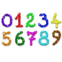 Numeri Glitter Brillantini Colori-Glitter Colors Numbers