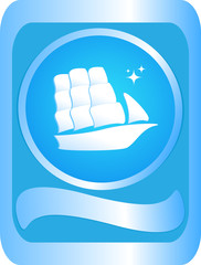 The sign of sailing ship on a blue background