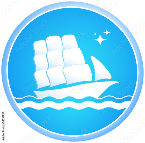 Sailing ship in the ocean in the blue circle