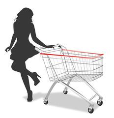 Silhouette di donna con carrello della spesa