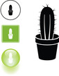 cactus in a pot symbol sign and button