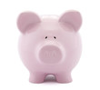 Front view of pink piggy bank with clipping path