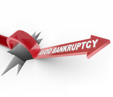 Avoid Bankruptcy - Financial Recovery Arrow Jumps Over Hole poster