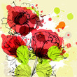 Beautiful flowers on grunge background
