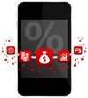 Smartphone 5 Red Icons Mobile Banking % Dollar