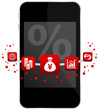 Smartphone 5 Red Icons Mobile Banking % Yen
