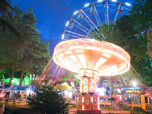 Bright ride in park of entertainments in Sochi city.
