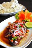 Herb spicy salad with Saba fish teriyaki sauce (Thai fusion food poster