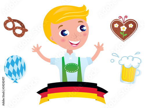 Cute bavarian Octoberfest male & icons isolated on white