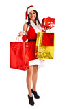 Santa Woman with Christmas Gift Box
