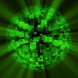 Lightcubes discoball green black poster