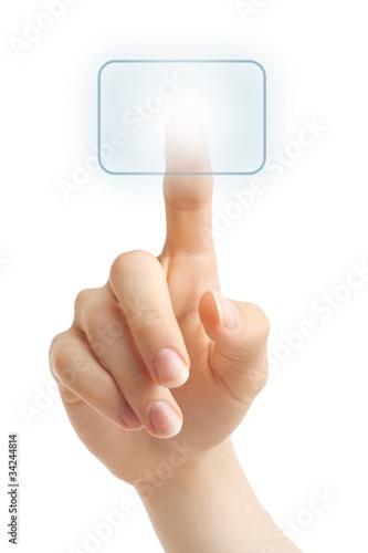 Hand pushing blue virtual button