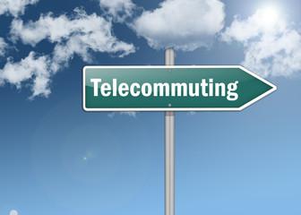 """Signpost """"Telecommuting"""""""