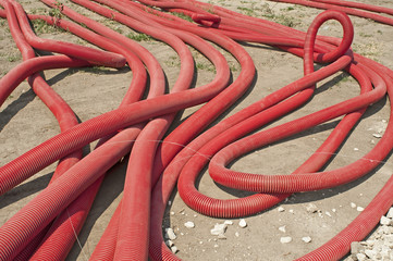 Red braided and turned tubes