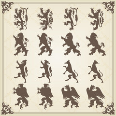 Vintage royal animal coat of arms illustration