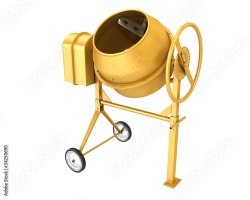 Clean new yellow concrete mixer