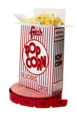 Popcorn and Movie Tickets Isolated