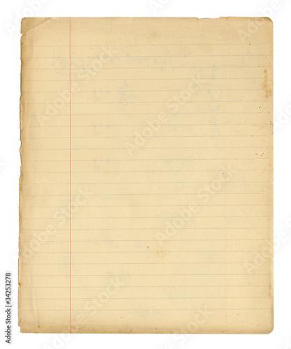 vieille page de cahier d'écolier