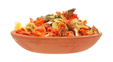 Vegetable seasoning in small red bowl