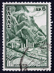 A Greek stamp showing an ancient site
