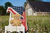 teddy bear with flag