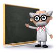 3d Mad Scientist shows his results on the blackboard