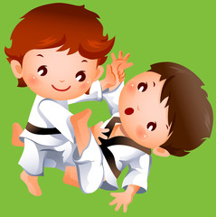 karate competition between two boys