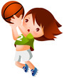 Girl throwing basketball