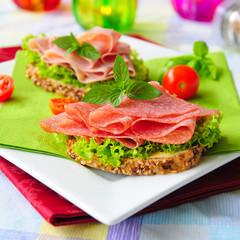 Vollkornbrot mit Salat und Salami