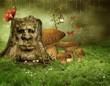 Sceneria fantasy z zaczarowanym drzewem