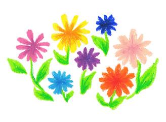 クレヨンで描いた花畑