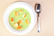 The bowl of broccoli soup
