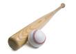 Baseball and baseball bat isolated on white