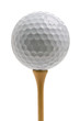 Closeup of golf ball sitting on tee isolated on white