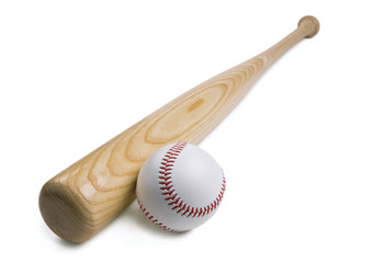 Baseball and baseball bat isolated on white