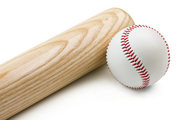 Baseball bat and ball isolated on white