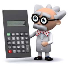 3d Mad Scientist uses a calculator to great effect
