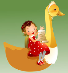 Girl sitting on duck