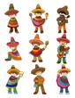 cartoon Mexican people icon set.