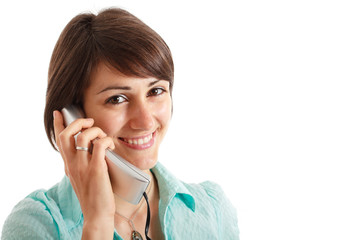 Woman using a telephone