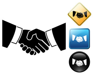 Handshake pictogram and signs