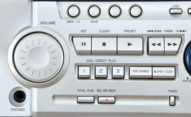 Part of Stereo system control panel.