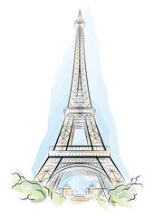 Vector drawing color Eiffel Tower in Paris, France