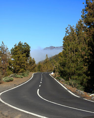 the empty road on Tenerife, Canary island, Spain