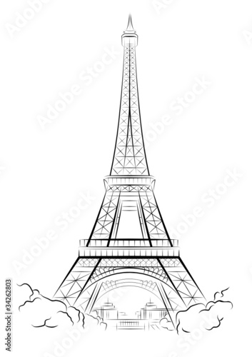 Vector drawing Eiffel Tower in Paris, France